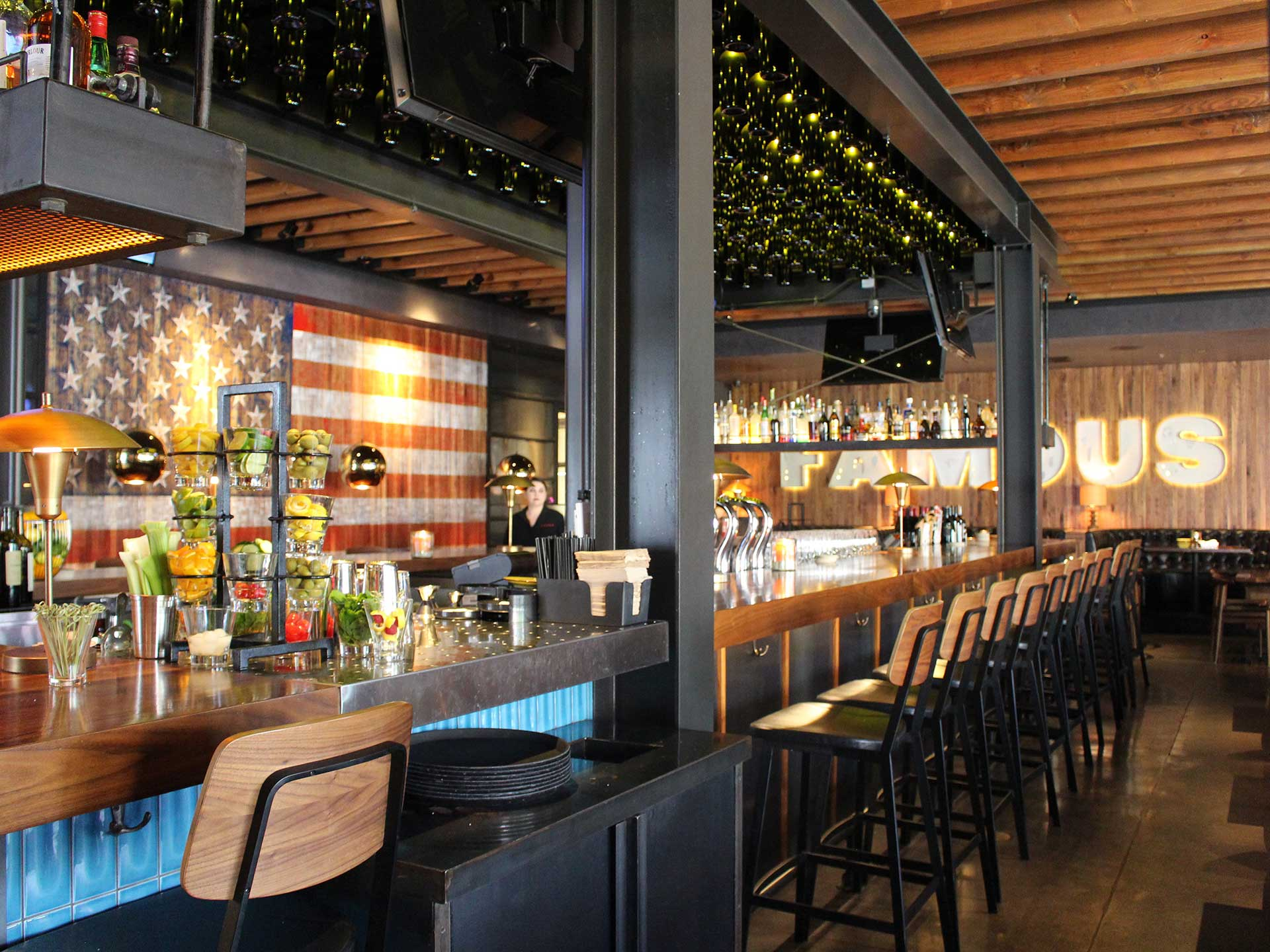Jimmy's Brea provides a trendy bar and seating area
